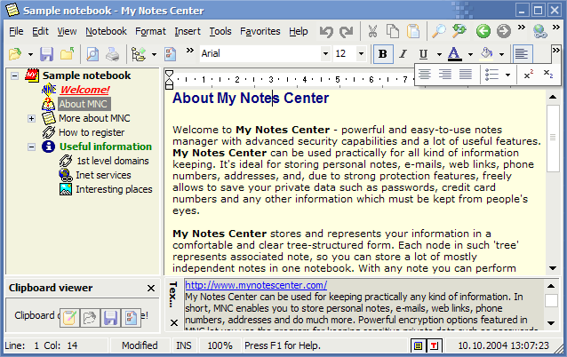 My Notes Center - E-Organizer and personal information manager.